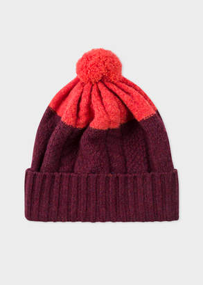 Paul Smith Men's Burgundy Cable-Knit Wool Beanie Hat