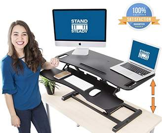 "Stand Steady FlexPro Hero Two Level Standing Desk - Easily Sit or Stand in Seconds! Large Work Space w/Removable Extra Level for Keyboard & Mouse! (Large (37""))"