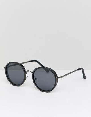 Asos Round Sunglasses In Matte Black