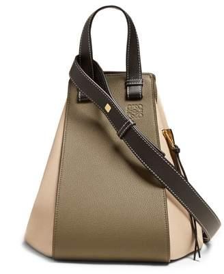 Loewe Hammock Medium Grained Leather Tote - Womens - Khaki Multi