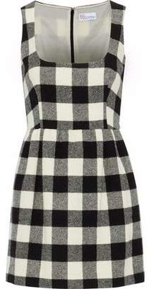 RED Valentino Gingham Brushed-Wool Mini Dress