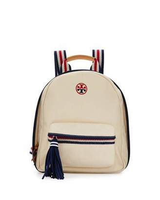 Tory Burch Embroidered-T Canvas Backpack, Natural/Tory Navy $250 thestylecure.com