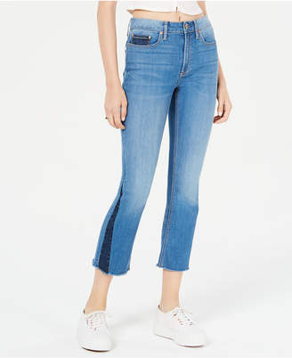American Rag Juniors' Contrast Pieced Kick-Flare Jeans