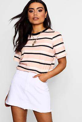 boohoo NEW Womens Stripe T-Shirt in Viscose