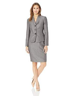 Le Suit Women's 3 Button Shawl Collar Tweed Skirt Suit