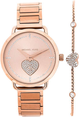 Michael Kors Mk3827 Rose Gold Tone Watch Bracelet Set