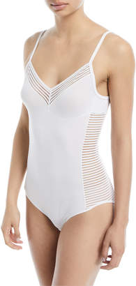 Hanro Cara Striped-Panel Bodysuit