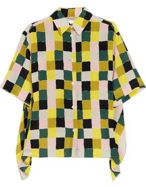 Emilio Pucci Draped Checked Silk Crepe De Chine Shirt