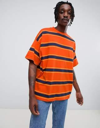 Asos DESIGN oversized t-shirt with orange retro stripe