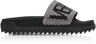 Versace Versus Black Crystals and Suede Slide Sandals