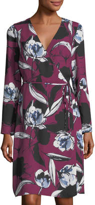 Neiman Marcus Floral-Print Wrap Tie Dress, Wine