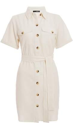Dorothy Perkins Womens *Quiz Utility Cream Shirt Dress