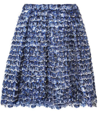 Proenza Schouler Fringed Printed Crepe Mini Skirt - Blue