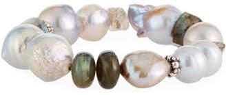 Stephen Dweck Baroque Pearl, Labradorite & Quartz Stretch Bracelet