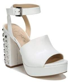 Fergie Jolie Block Heel Leather Platform Sandals