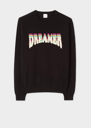 Paul Smith Men's Black Lambswool Sweater With 'Dreamer' Embroidery