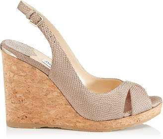 Jimmy Choo AMELY 105 Nude Printed Metallic Leather Slingback Wedges