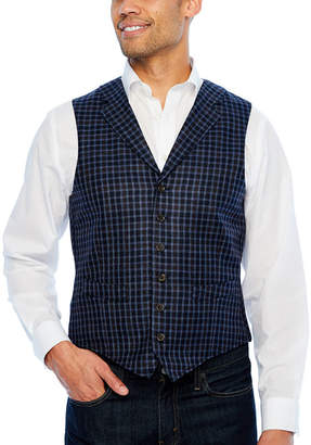 STAFFORD Stafford Merino Stretch Blue Navy Grid Classic Fit Suit Vest