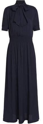 Pussy-Bow Smocked Crepe Maxi Dress