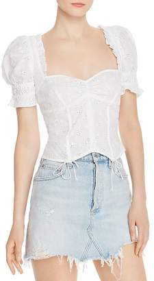 For Love & Lemons Cotton Eyelet Lace Top