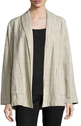 Eileen Fisher Oversized Cotton Jacket W/Stripes, Natural $318 thestylecure.com