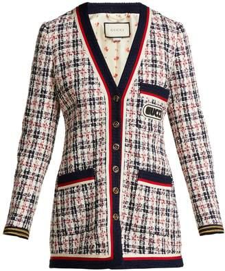 Gucci Logo-appliqué tweed cardigan