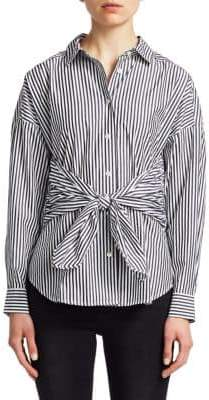 Frame Tie Long-Sleeve Poplin Shirt