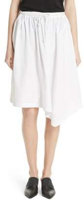 Vince Asymmetrical Drawstring Cotton Skirt