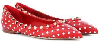 Valentino Rockstud polka-dot leather ballet flats
