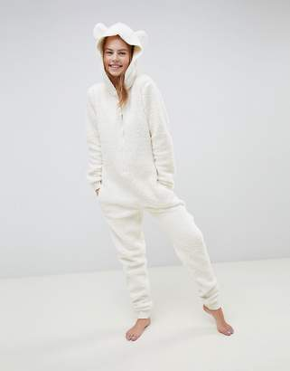 Asos DESIGN lounge super soft hooded teddy onesie