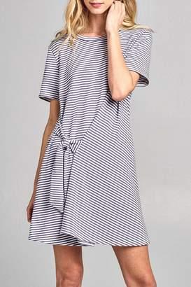 Cotton Bleu Striped Tie Dress