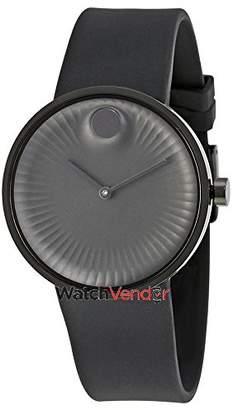 Movado Men's Edge 40mm Rubber Band Steel Case Swiss Quartz Watch 3680005