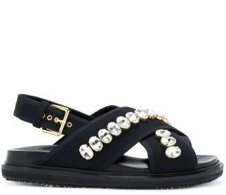 Marni embellished cross-over strap sandals