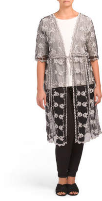 Plus Embroidered Duster Jacket