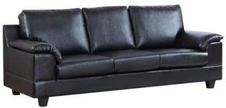 Benzara Contemporary Style PU Leather Sofa With Velvety Arm Rest