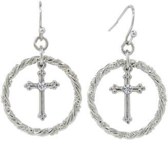clear 1928 Jewelry 1928 Religious Jewelry Brass 35.8mm Cross Hoop Earrings