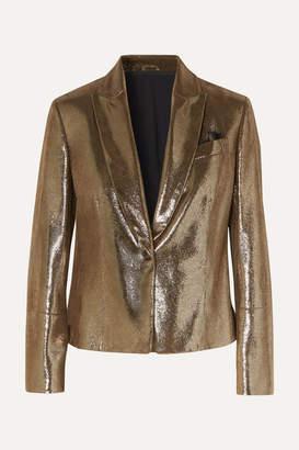 Brunello Cucinelli Cropped Metallic Cracked-leather Blazer