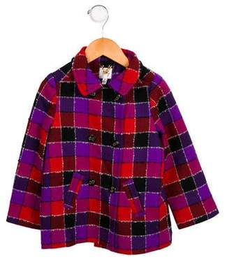 Milly Minis Girls' Checkered Wool Jacket