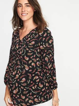 Old Navy Maternity Floral-Paisley Jersey Lace-Trim Top