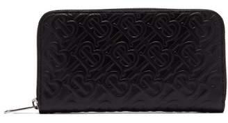 Burberry Logo Embossed Leather Zip Around Wallet - Mens - Black
