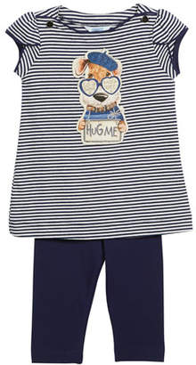 Mayoral Stripe Hug Me Dog T-Shirt w/ Leggings, Size 3-7