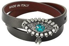 Alexander McQueenAlexander McQueen Leather Wrap Around Bracelet with Embellishment