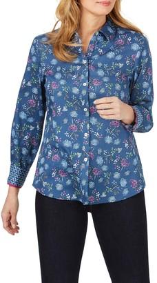 Foxcroft Ava Floral Print Chambray Shirt