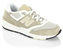 New Balance Suede and Leather Sneakers $90 thestylecure.com