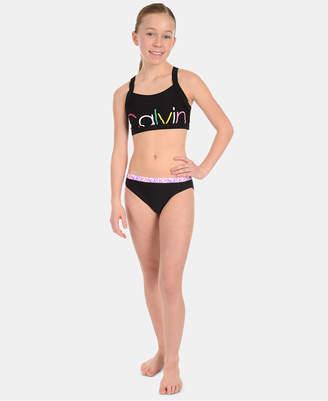 a2aaeea24a Calvin Klein Big Girls 2-Pc. Logo-Print Bikini Swimsuit