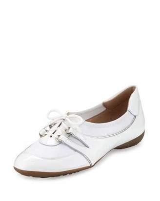 Sesto Meucci Bonnie Stretch Patent Sneaker, White $250 thestylecure.com