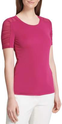 DKNY Mesh Short-Sleeve Top