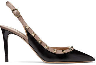 Valentino Garavani The Rockstud Patent-leather Slingback Pumps - Black