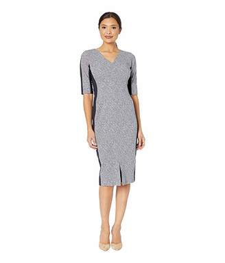 Maggy London Tweed Metallic Rib Arc Shoulder Sheath Dress