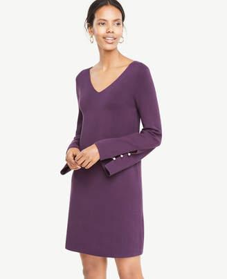 Ann Taylor Pearlized Button Slit Cuff Sweater Dress